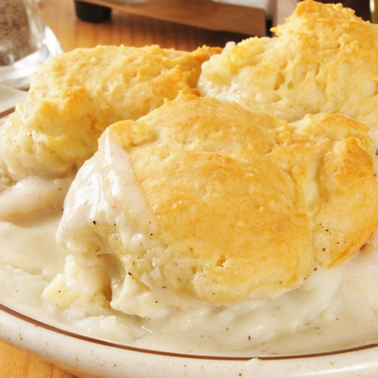 This biscuits and milk gravy recipe are as old fashioned as they come.  We changed the shortening in the biscuits to butter as we think it is a healthier option. The gravy is made from bacon grease and we suggest using a good quality bacon to save your grease from for when you plan to make this milk gravy recipe.