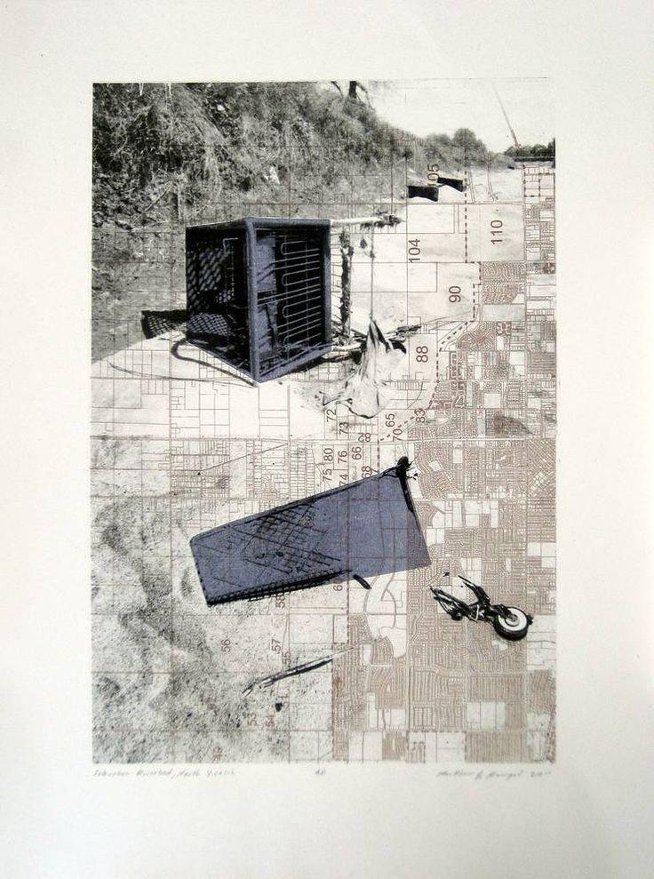 Matthew Rangel, Suburban Riverbed - North Visalia, lithograph, nd