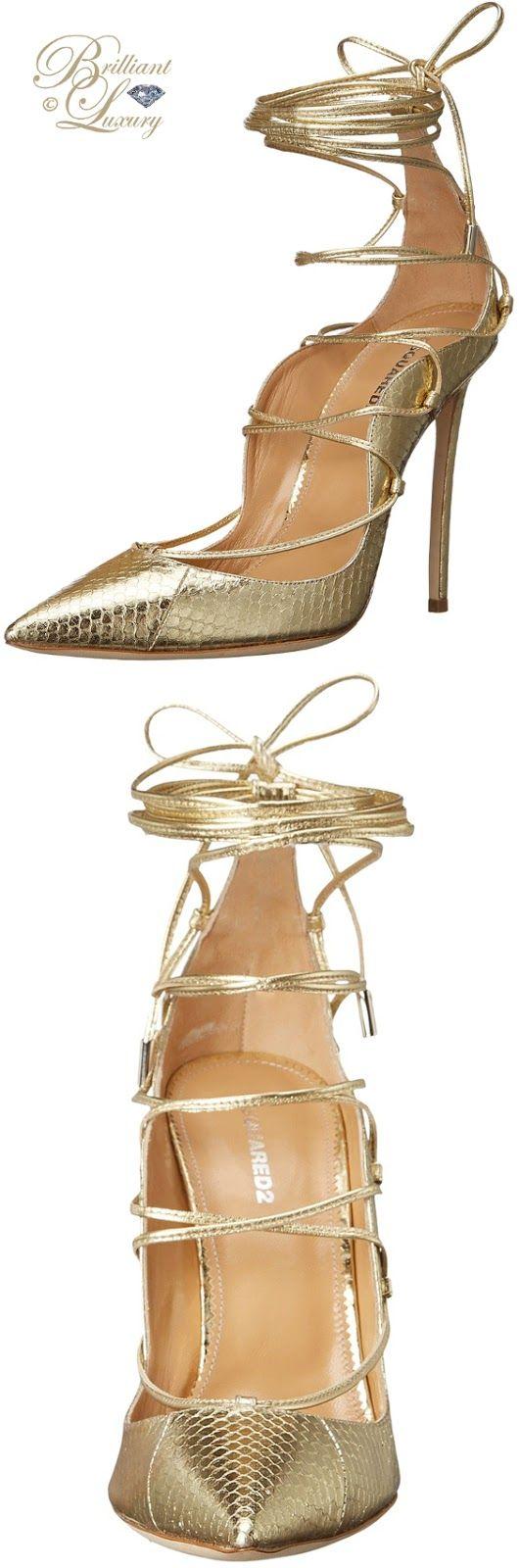 Brilliant Luxury ♦ Dsquared2 Gold Riri Strappy Sandals