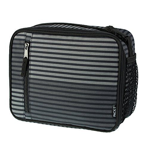 PackIt Freezable Classic Lunch Box, Gray Stripe PackIt