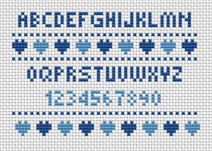 Small alphabet pattern with letters and numbers for your cross stitch projects.Contains full stitches only