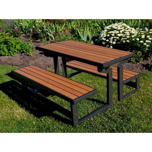 Lifetime Products Wood Grain Convertible Folding Picnic Table: Patio  Furniture : Walmart.com