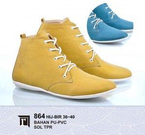 Jual Sepatu Boots Wanita Keren Warna Kuning, Biru Murah Online