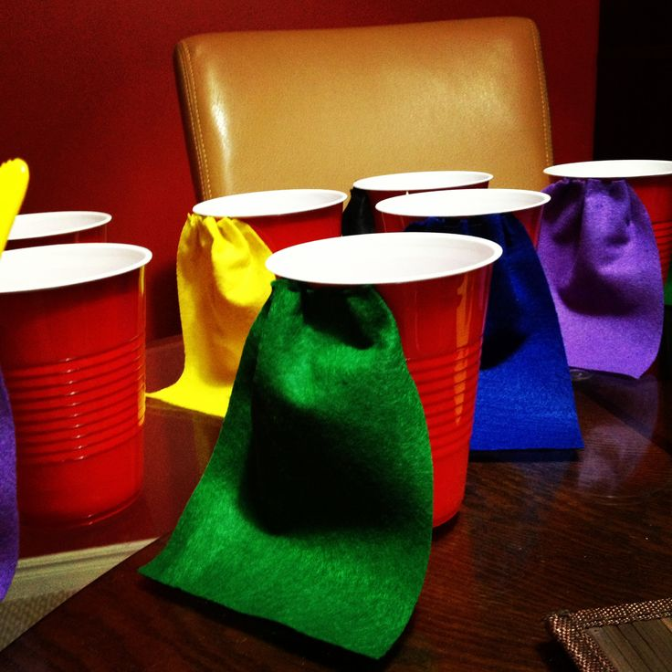 Cup capes good for a superhero party for kids and adults