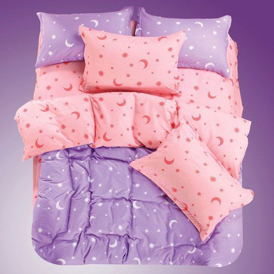 Lovely Star and Moon Print 4 Pieces Cotton Bedding Sets Purple
