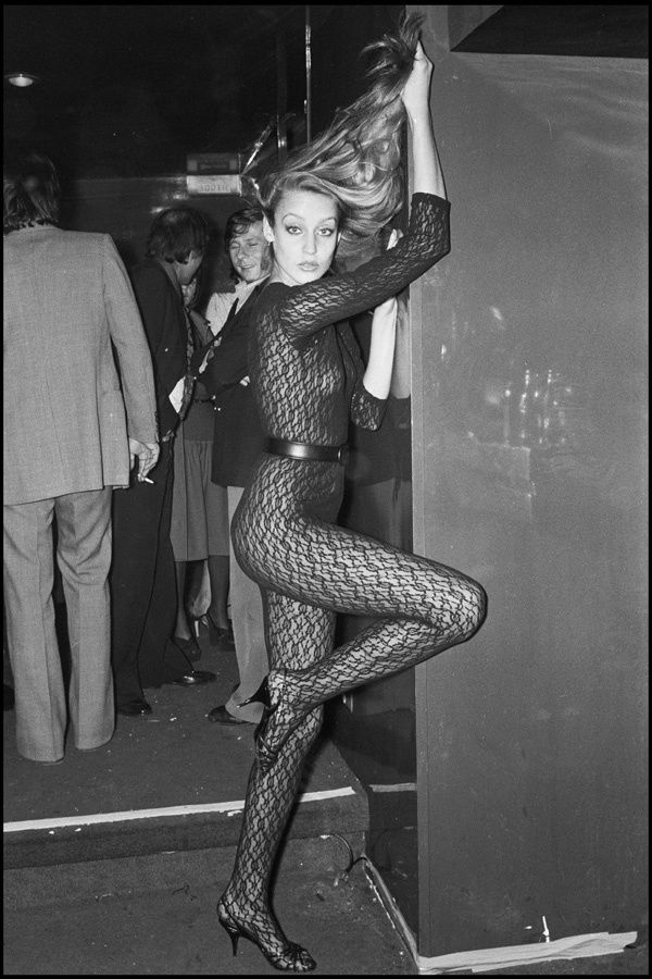 Style icons: Jerry Hall in a sexy BodyStocking, Party In Paris - 1976