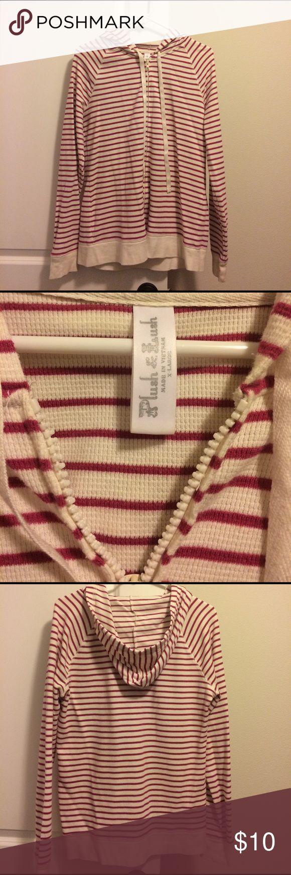 Zip-up Hoodie Fuchsia and cream zip-up hoodie Plush & Lush Sweaters