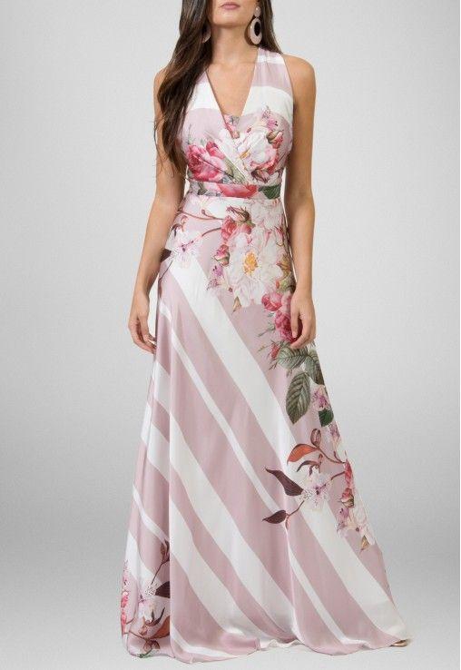 Vestido longo de seda estampa flora Powerlook - powerlook-V-MOB