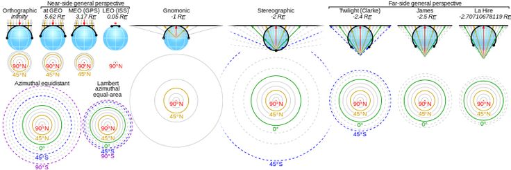 some serious #Cartography: Azimuthal Equidistant Projections ordered by projection altitude in #Earth radii   #world