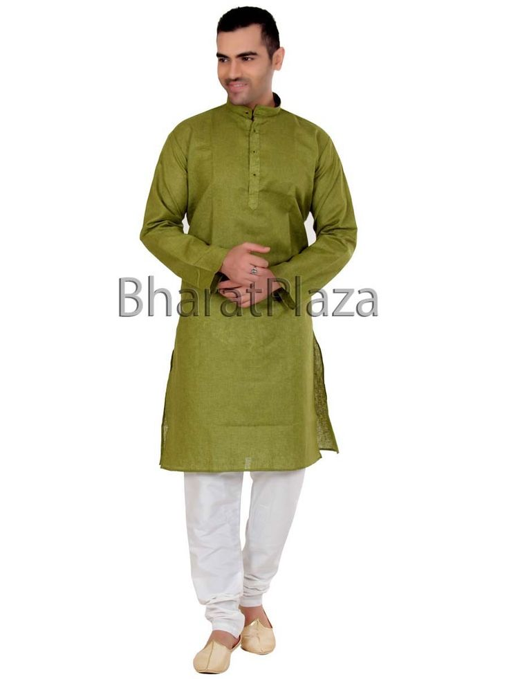 Alluring olive green color jute kurta paired with off white color #Churidar #Pyjama is marvelous. Item Code : SKPD1004G http://www.bharatplaza.com/new-arrivals/kurta-pyjamas.html