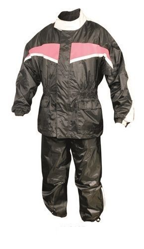 Womens Black and Pink Motorcycle Rain Suit with Reflective Stripe by Allstate Leather. http://www.mymotorcycleclothing.com/