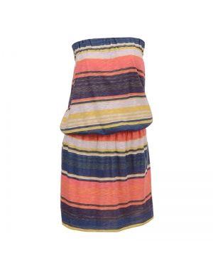 Φόρεμα κοντό στράπλες ριγέ.