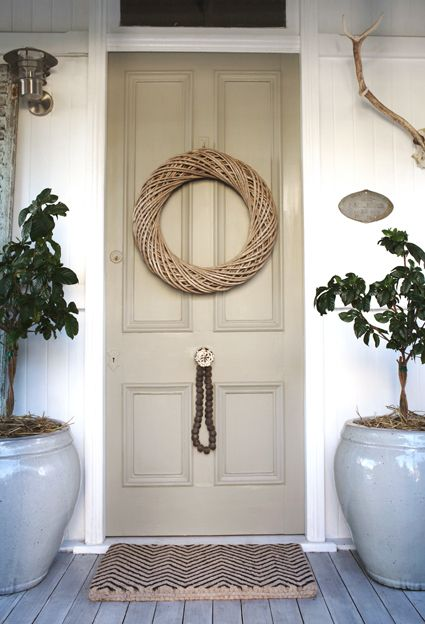 Soothing front door scheme. Add custom wreath and potted shrubs and flowers for picture prop.