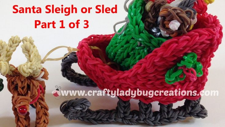 Rainbow Loom Christmas Sant Sleigh Part 1, How to Make Loom Band Tutorials by Crafty Ladybug Designs, tutorials and videos are protected by Copyright ©2014 C...