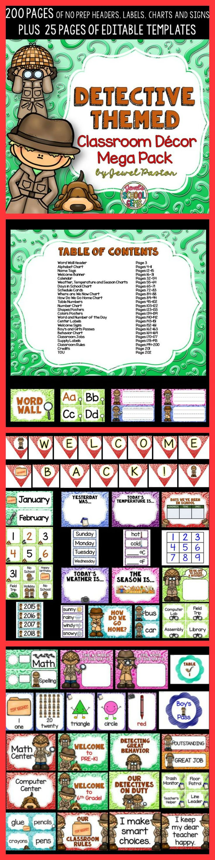 Detective Theme | Detective Theme  Treat your super sleuths to this Detective Themed Classroom Decor Mega Pack. It comes with 200 pages of NO PREP HEADERS, LABELS, CHARTS AND SIGNS plus 25 pages of EDITABLE PARTS/TEMPLATES.