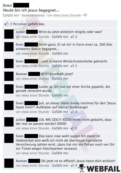Leg dich besser nicht mit Jesus an. Jesus hasst mich! - Facebook Fail des Tages 12.09.2013   Webfail - Fail Bilder und Fail Videos