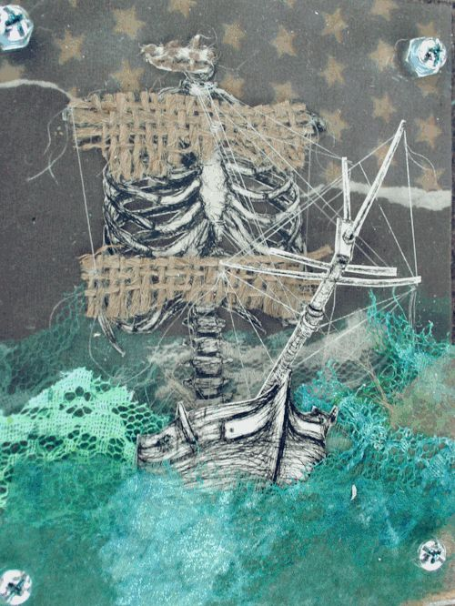"""chris-craw:  """" little ribship, 4x5x0.5 inches  drypoint etchings and mixed media collaged and layered between plexiglass sheets with wood back piece.  assembled with machine screws and nuts  """""""