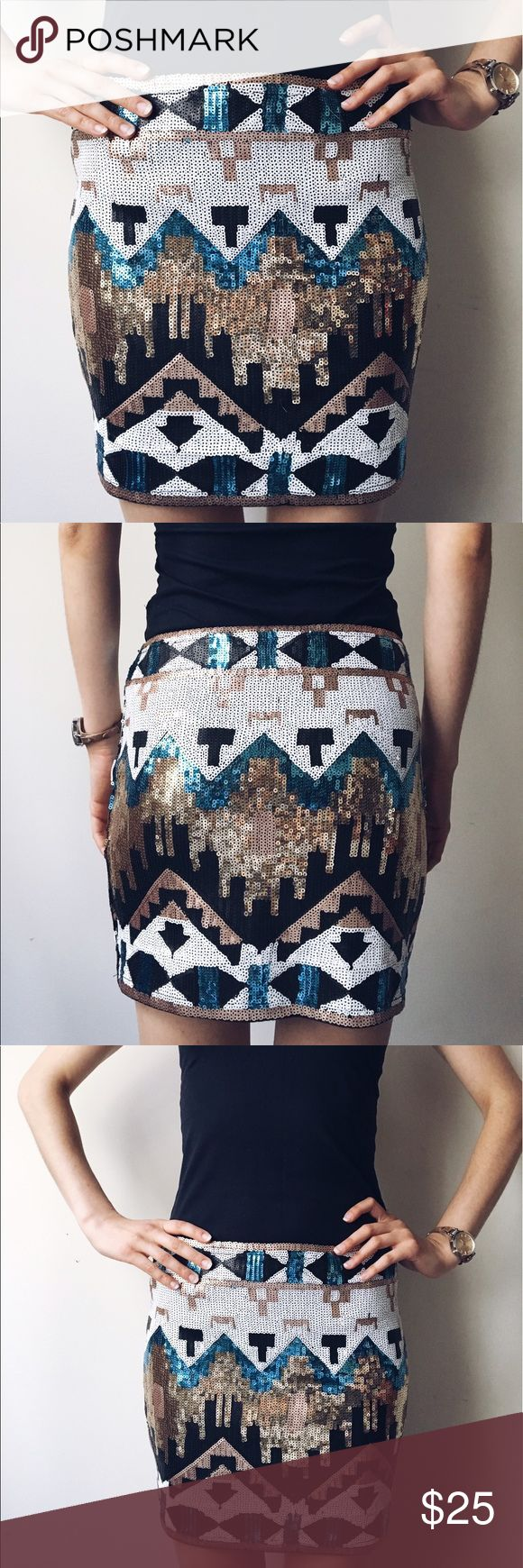Colorful Native American inspired sequin skirt Native American inspired colorful sequin skirt. Size M but fits great as S. Worn only once. Orange Caramel Skirts Mini