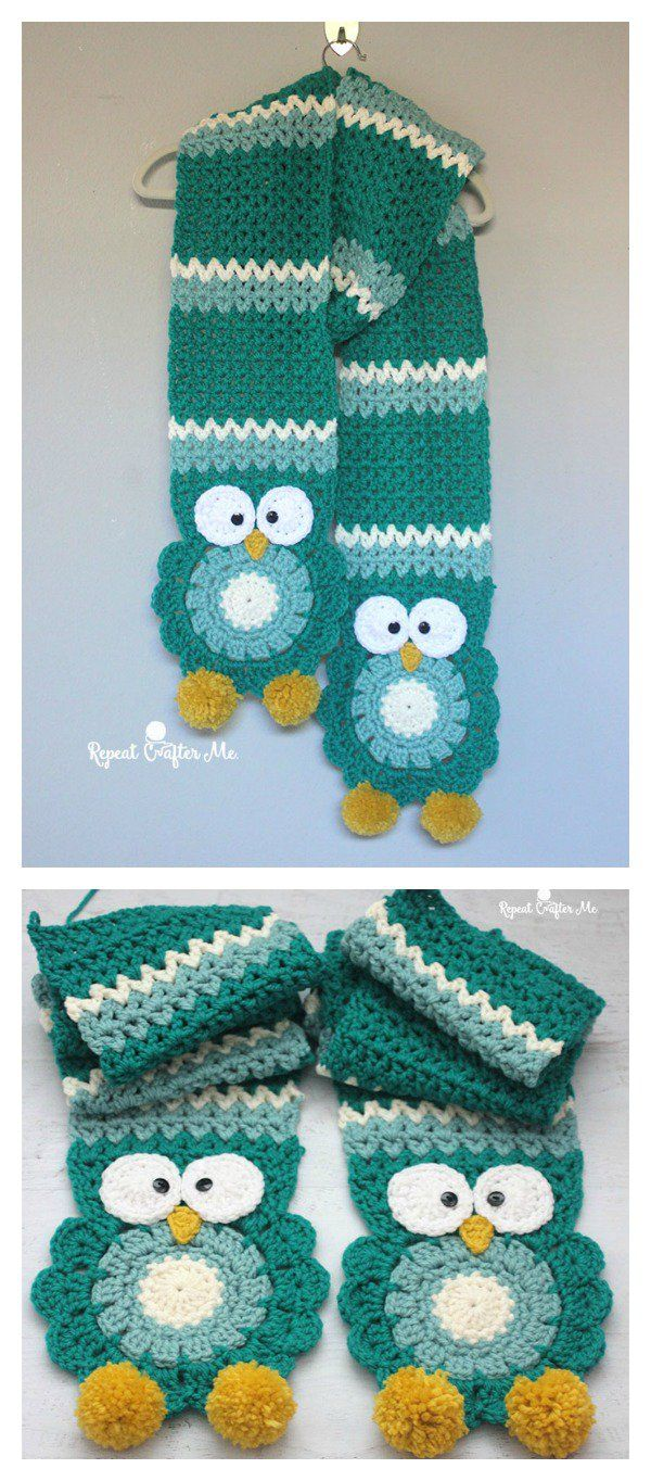Owl Super Scarf Free Crochet Pattern-http://www.yarnspirations.com/patterns/owl-crochet-super-scarf.html. I made it in different color combinations for grandaughters and didn't even end up adding the owl decorations. Beautiful!