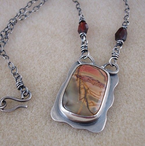 Cherry Creek Jasper and Sterling Silver Handmade Necklace