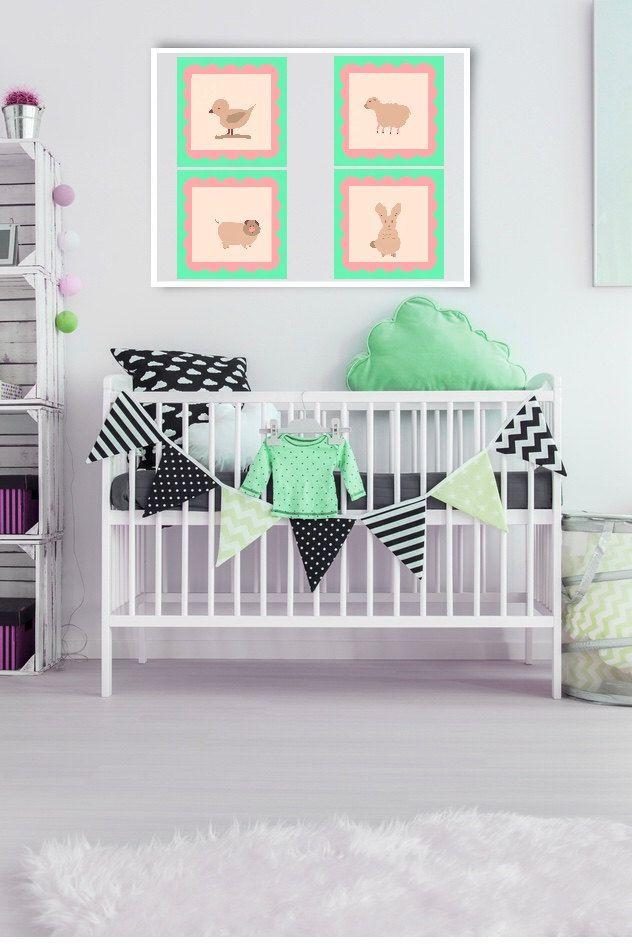 ID89  Cute Pink and Green Animal Wall Art Prints. Set of 4. Girls or Boys bedroom, nursery or playroom. by ElcoStudio on Etsy