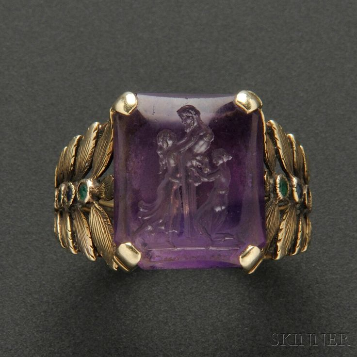 Rare Gold and Amethyst Intaglio Ring, Marie Zimmermann | Sale Number 2693B, Lot Number 473 | Skinner Auctioneers
