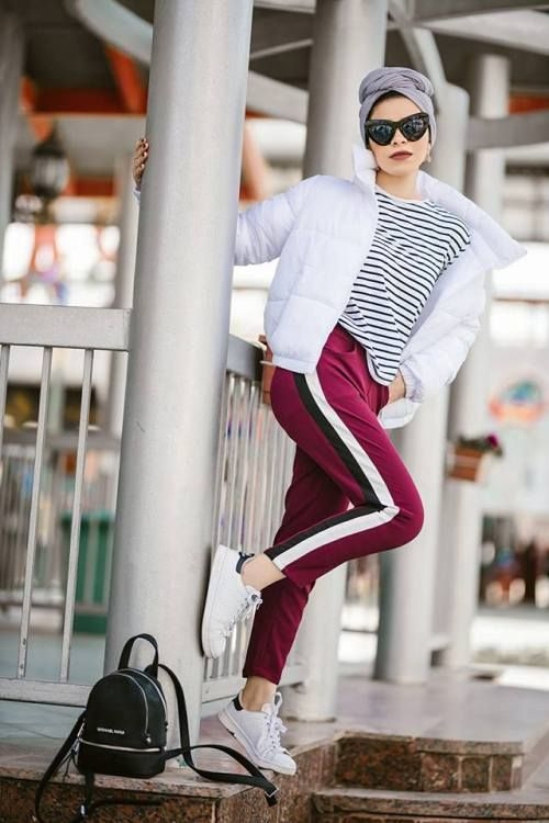 sporty pants with side line,Casual and sporty hijab style \u2013 Just Trendy  Girls