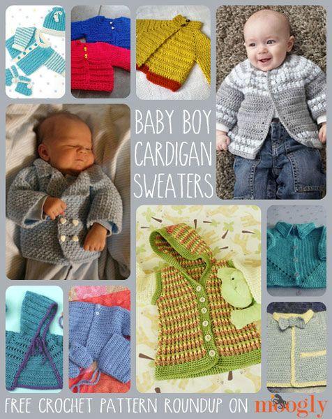 Patrones gratis de ganchillo Cardigan Sweater para los bebés!  :: Moogly