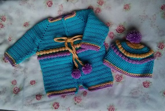 Baby Bobbles Hat and Sweater set for 12 Months/ handmade
