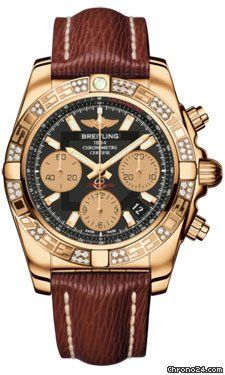 Breitling Chronomat 41 Rose Gold Diamonds Lizard Strap $24,625 #Breitling #watch #watches #chronograph 41.00 mm 18K rose gold case, screwed in back, screw-locked pushpieces and crown with two gaskets