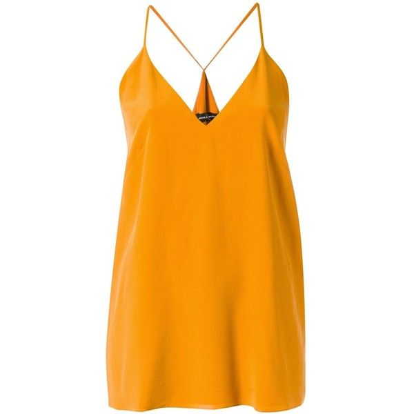 Andrea Marques silk top (20.065 RUB) ❤ liked on Polyvore featuring tops, orange, spaghetti-strap top, andrea marques, silk top, silk v neck top and orange silk top
