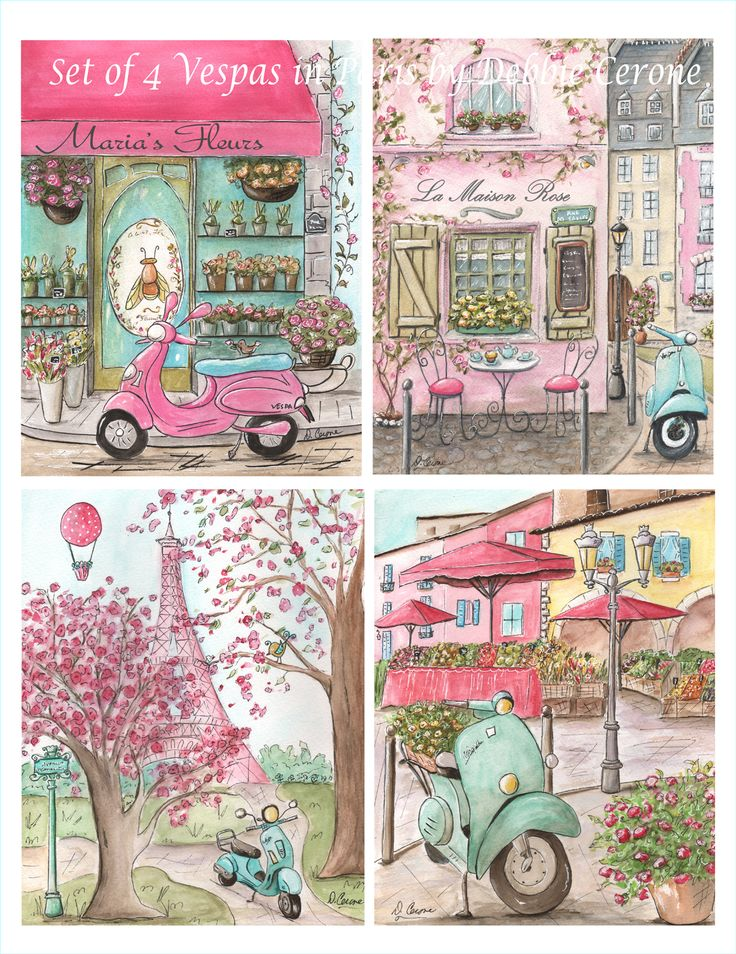 New! My popular 'Vespa's in Paris' are now available as a set of 4! Just added the newest, adorable print of Montmarte Paris Cafe - La Maison Rose (which can be personalized with girls' name).