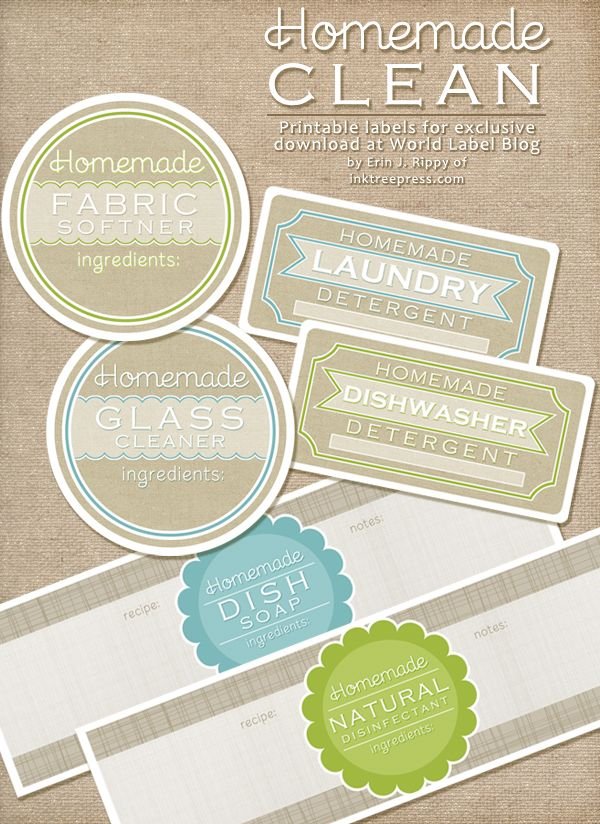 Free Label Printables for your homemade cleaning products