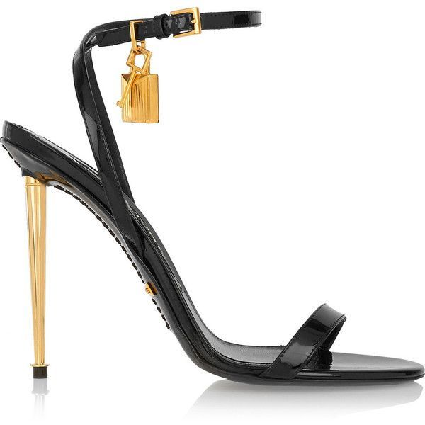 Tom Ford Patent-leather sandals (40,890 THB) ❤ liked on Polyvore featuring shoes, sandals, heels, sapatos, black, black strappy sandals, high heel sandals, black patent shoes, strap sandals and strappy heel sandals