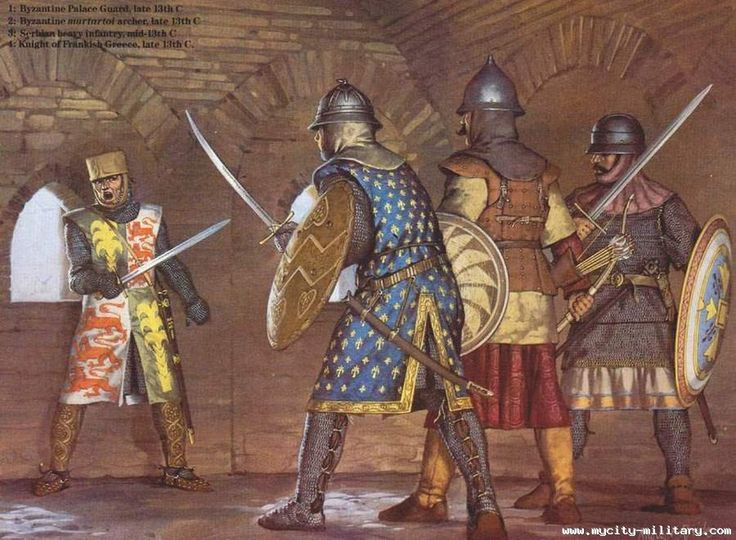 Byzantine Palace Guards - Late 13th Century confront a Knight of Frankish Greece.
