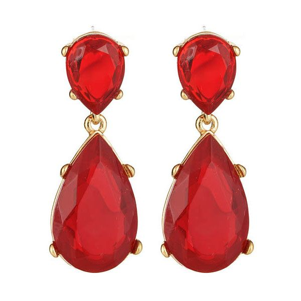 Kenneth Jay Lane Crystal And Ruby Tassel Pierced Earring Crystal/ruby 5GDgyP