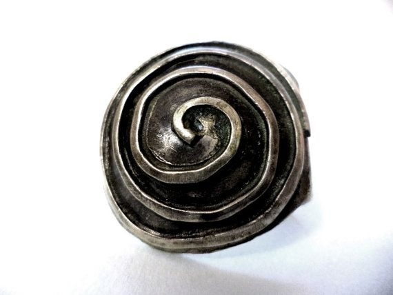 Handmade Silver Goth Ring Steampunk Spiral Healing Ring Statement Ring Solitaire Ring Industrial Ring Medieval Ring