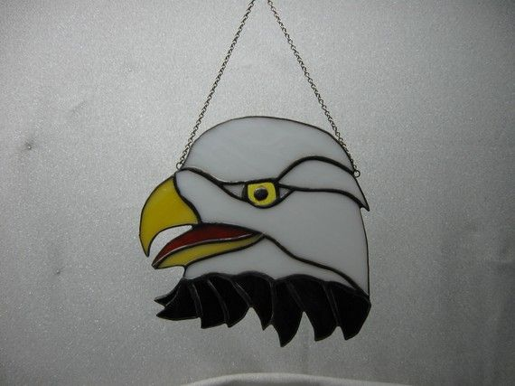 Bald eagle head stained glass suncatcher by NitasStainedGlass, $25.00