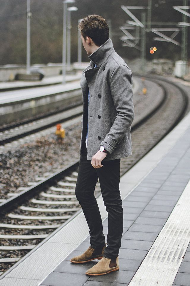 Shop this look for $261:  http://lookastic.com/men/looks/grey-pea-coat-and-black-jeans-and-tan-chelsea-boots-and-light-blue-longsleeve-shirt/1720  — Grey Pea Coat  — Black Jeans  — Tan Suede Chelsea Boots  — Light Blue Longsleeve Shirt
