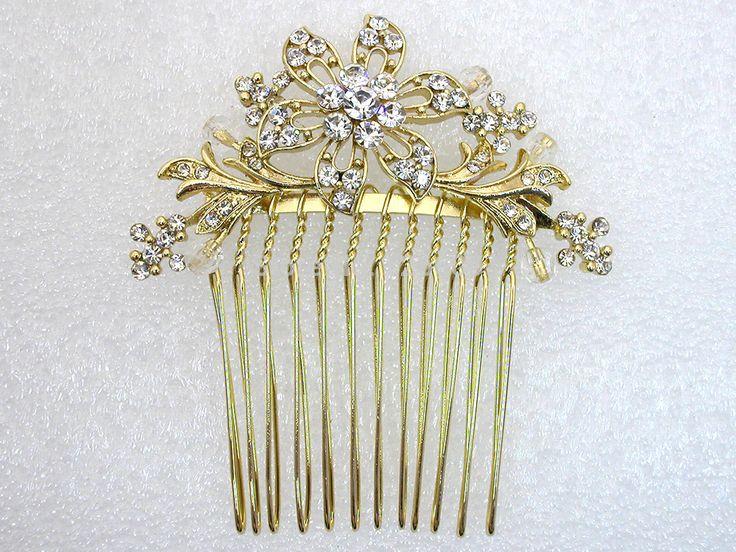 밝은 맑은 라인 스톤 신부 들러리 웨딩 액세서리 금 도금 머리 빗 l065 B 무도회 보석 선물