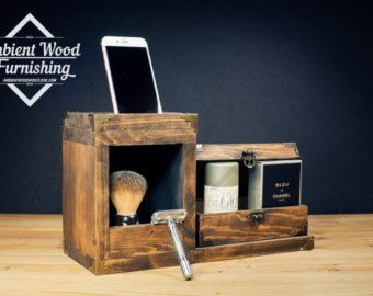 Dual Industrial Pipe Lamp With Apple watch dock by AmbientWood
