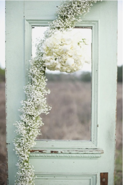 Mint wedding flowers and doors
