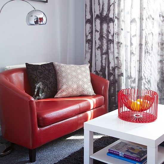 Red leather and grey living room | Decorating