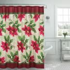 70 in. x 72 in. Poinsettia Textured Shower Curtain, Red; White; Green; Fuchsia