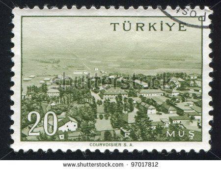 TURKEY - CIRCA 1959: stamp printed by Turkey, shows Turkish city, Mus, circa 1959. - stock photo
