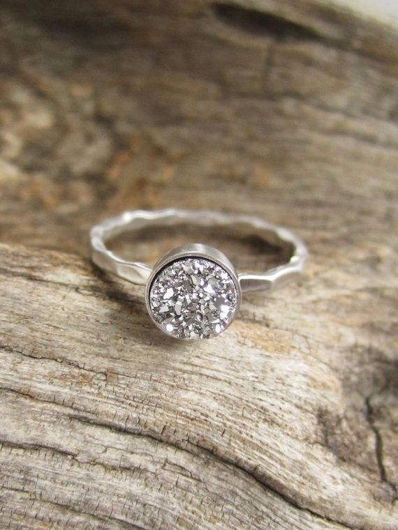 Tiny Silver Druzy Ring Titanium Drusy Quartz by julianneblumlo