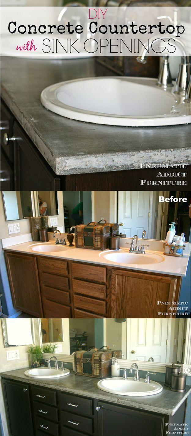 DIY Concrete Countertops | DIY Home Improvement Ideas and Tips from DIY Ready at http://diyready.com/incredible-diy-bathroom-makeover/