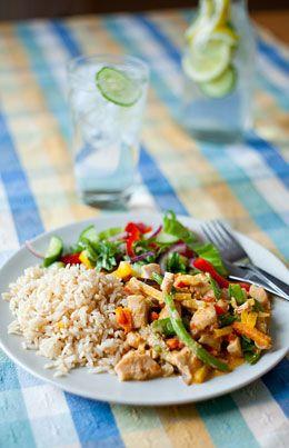 Thaiwok med kyckling eller quorn