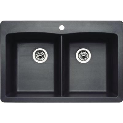 Blanco Diamond Dual Mount Composite 22x9.5x33 1-Hole Double Bowl Kitchen Sink in Anthracite - 440220 at The Home Depot