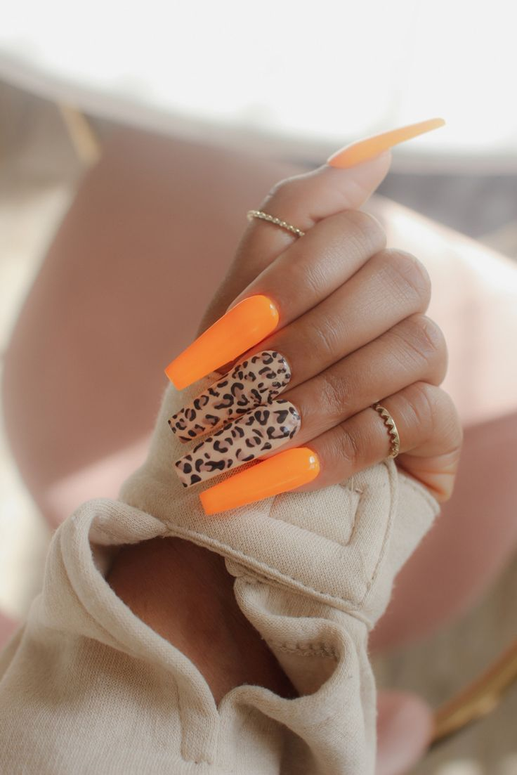 Diy press on nails neon and cheetah print cheetah